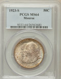 Commemorative Silver: , 1923-S 50C Monroe MS64 PCGS. PCGS Population (1482/457). NGCCensus: (1590/425). Mintage: 274,077. Numismedia Wsl. Price fo...