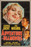 "Movie Posters:Crime, Adventure in Diamonds (Paramount, 1940). One Sheet (27"" X 41"").Crime.. ..."
