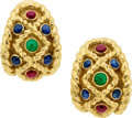 Estate Jewelry:Earrings, Multi-Stone, Gold Earrings, David Webb. ...