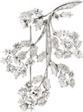 Estate Jewelry:Brooches - Pins, Diamond, Platinum, White Gold Brooch, Van Cleef & Arpels. ...