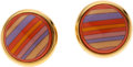 Luxury Accessories:Accessories, Hermes Pink, Purple & Yellow Enamel Earrings. ...