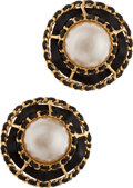 Luxury Accessories:Accessories, Chanel Leather & Pearl Clip on Earrings. ...