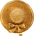 Luxury Accessories:Accessories, Chanel Large Straw Hat with Bow Gold Pin. ...