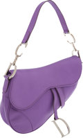 Luxury Accessories:Bags, Christian Dior Lavender Leather Saddle Bag. ...