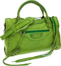 Luxury Accessories:Bags, Balenciaga Lime Green Leather City Bag. ...
