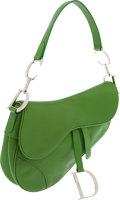 Luxury Accessories:Bags, Christian Dior Lime Green Leather Saddle Bag. ...