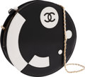 Luxury Accessories:Bags, Chanel Black & White Lambskin Leather Round Shoulder Bag. ...