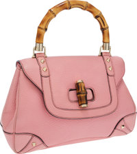 Gucci Pink Leather Bamboo Top Handle Bag