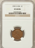 Lincoln Cents: , 1909-S VDB 1C XF40 NGC. NGC Census: (324/2434). PCGS Population(765/3702). Mintage: 484,000. Numismedia Wsl. Price for pro...