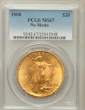 Saint-Gaudens Double Eagles: , 1908 $20 No Motto MS67 PCGS. PCGS Population (79/1). NGC Census:(274/13). Mintage: 4,271,551. Numismedia Wsl. Price for pr...