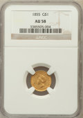 Gold Dollars: , 1855 G$1 AU58 NGC. NGC Census: (1936/1569). PCGS Population(451/1243). Mintage: 758,269. Numismedia Wsl. Price for problem...