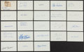 Autographs:Index Cards, Baseball Greats Signed Index Cards Lot Of 40+....