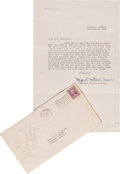 """Movie/TV Memorabilia:Autographs and Signed Items, A Margaret Mitchell Signed Letter Referencing """"Gone With the Wind,""""1936.... (Total: 2 Items)"""