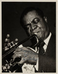 Movie/TV Memorabilia:Autographs and Signed Items, A Louis Armstrong Signed Black and White Photograph, Circa 1955....