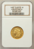 Classic Half Eagles: , 1834 $5 Plain 4 MS61 NGC. NGC Census: (91/162). PCGS Population(35/127). Mintage: 657,460. Numismedia Wsl. Price for probl...