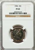 Proof Barber Quarters: , 1904 25C PR65 NGC. NGC Census: (57/69). PCGS Population (34/36). Mintage: 670. Numismedia Wsl. Price for problem free NGC/P...