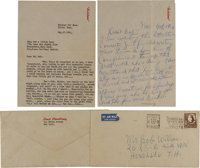 A Louis Armstrong Set of Signed Letters, 1954