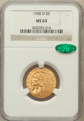 Indian Half Eagles, 1908-D $5 MS63 NGC. CAC....