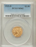 Indian Quarter Eagles: , 1925-D $2 1/2 MS62 PCGS. PCGS Population (3519/5917). NGC Census:(6235/8935). Mintage: 578,000. Numismedia Wsl. Price for ...