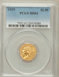 Indian Quarter Eagles: , 1929 $2 1/2 MS61 PCGS. PCGS Population (1690/9511). NGC Census:(2441/15760). Mintage: 532,000. Numismedia Wsl. Price for p...