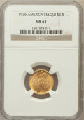 Commemorative Gold: , 1926 $2 1/2 Sesquicentennial MS61 NGC. NGC Census: (353/6712). PCGSPopulation (228/10135). Mintage: 46,019. Numismedia Wsl...