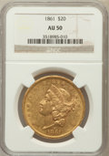 Liberty Double Eagles: , 1861 $20 AU50 NGC. NGC Census: (242/1918). PCGS Population(203/880). Mintage: 2,976,453. Numismedia Wsl. Price for problem...