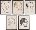 Movie/TV Memorabilia:Autographs and Signed Items, A Group of Signed 'Character Actor' Caricature Sketches from TheBrown Derby Restaurant, 1930s-1940s.... (Total: 5 Items)