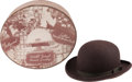 Movie/TV Memorabilia:Memorabilia, A Collectible Tiny Hat and Hat Box from The Brown Derby Restaurant,Circa 1940s.... (Total: 2 Items)