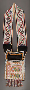 American Indian Art:Beadwork and Quillwork, A CHIPPEWA LOOM-BEADED BANDOLIER BAG. c. 1880...