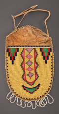 American Indian Art:Beadwork and Quillwork, A GROS VENTRE BEADED HIDE POUCH...
