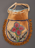 American Indian Art:Beadwork and Quillwork, A CHIPPEWA BEADED HIDE DRAWSTRING POUCH...