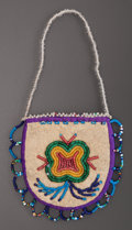 American Indian Art:Beadwork and Quillwork, A CREE BEADED HIDE POUCH...