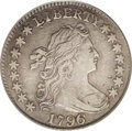 Early Dimes: , 1796 10C VF35 PCGS. JR-3, R.5. This richly detailed gunmetal-grayearly silver type coin has a light mark beneath the hair ...