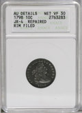 Early Dimes: , 1798 10C Large 8--Repaired, Rim Filed--ANACS. AU Details, Net VF30.JR-4, R.3. The sole Large 8 die pairing. The upper righ...