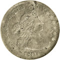 Early Dimes: , 1804 10C 14 Stars on Reverse--Damaged--ANACS. VF20 Details. JR-2,R.5. While 1805 dimes can be readily obtained, date colle...