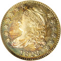 Bust Dimes: , 1823/2 10C Large Es MS63 NGC. JR-3, R.2. Two obverse dies are knownfor 1823 dimes, and both are clearly overdated. This sh...