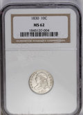 Bust Dimes: , 1830 10C Medium 10C MS62 NGC. JR-7, R.4. Light olive-tan toning ismoderately more evident on the obverse. A shimmering and...