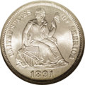 Seated Dimes: , 1891-S 10C MS67 NGC. A frosty, well struck Gem that is virtuallyuntoned with only the slightest hint of golden color visib...
