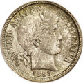 Barber Dimes: , 1893-O 10C MS66 PCGS. A wonderfully preserved, second-year NewOrleans issue that is layered in mottled greenish-gray tonin...