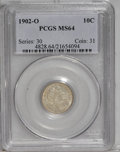Barber Dimes: , 1902-O 10C MS64 PCGS. The obverse is nicely struck and the reverseis even stronger. A clean coin for the grade, with the u...