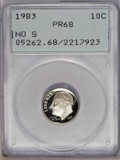 Proof Roosevelt Dimes: , 1983 10C No S PR68 PCGS. This rare No S proof dime obviouslydemonstrates deep cameo contrast, although the first generatio...
