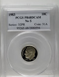 Proof Roosevelt Dimes: , 1983 10C No S PR68 Deep Cameo PCGS. Essentially perfect surfaceswith incredible contrast between the deeply mirrored field...