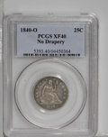 Seated Quarters: , 1840-O 25C No Drapery XF40 PCGS. Toned dove-gray in the center withpewter-gray patina at the periphery. This evenly worn c...