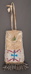 American Indian Art:Beadwork and Quillwork, A CHEYENNE BEADED HIDE STRIKE-A-LIGHT POUCH. c. 1890...