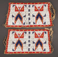 American Indian Art:Beadwork and Quillwork, A PAIR OF SIOUX BEADED HIDE CUFFS... (Total: 2 )