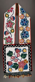 American Indian Art:Beadwork and Quillwork, A CHIPPEWA BEADED HIDE BANDOLIER . c. 1900...