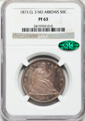 Proof Seated Half Dollars, 1873 50C No Arrows PR63 NGC. CAC....