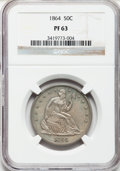 Proof Seated Half Dollars, 1864 50C PR63 NGC....