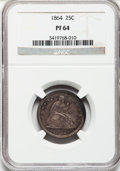 Proof Seated Quarters, 1864 25C PR64 NGC....