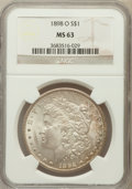 Morgan Dollars: , 1898-O $1 MS63 NGC. NGC Census: (14919/44842). PCGS Population(15791/40191). Mintage: 4,440,000. Numismedia Wsl. Price for...